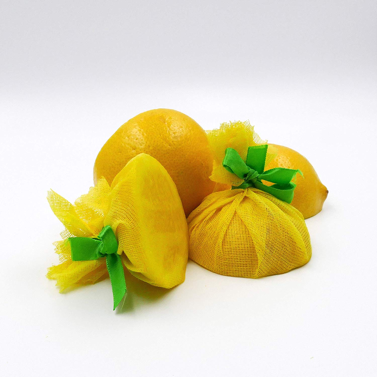 Lemon Wraps with Green Ribbon (100 Pack) 100% cotton