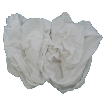 Recycled White T-Shirt Rags - 25lb Box